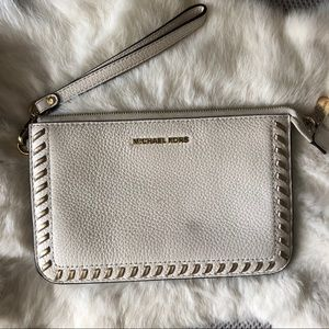 Michael Kors White and Gold Wristlet